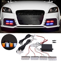 All 4x 3 LED Strobe Emergency Flashing Light Car Auto Warning Lights 3 Flashing Modes For