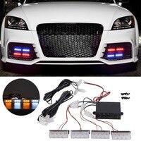Wszystkie 4x3 LED Strobe Awaryjne Ostrzeżenie Migające Światła Samochodów Auto Akcesoria Do Samochodów Ciężarowych światła 3 Trybów Migających Dla Auto Car 12 V 2017