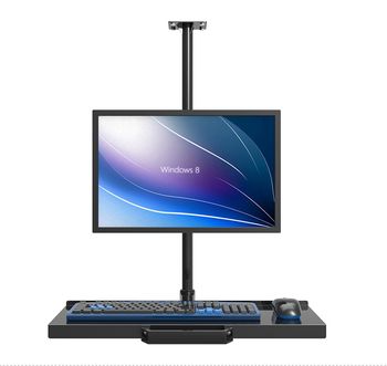 Customized Ceiling Mount Sit-Stand Workstation Full Motion Monitor Holder +Keyboard Holder Assembly Line Work Station