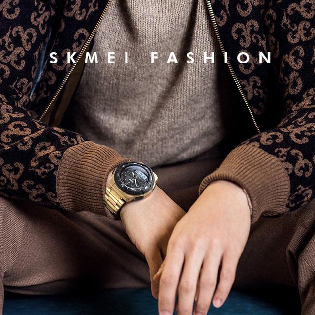 Sports Watches Top Brand Fashion Quartz Watches Men Steel Business Waterproof Led Digital Watch Male Clocks reloj hombre SKMEI