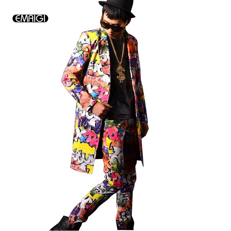 Costumes personnalisés hommes Hip Hop costumes Long Blazer veste robe hommes Graffiti Costume ensemble hommes scène vêtements discothèque Costume Costume ensemble-in Costumes from Vêtements homme on AliExpress - 11.11_Double 11_Singles' Day 1