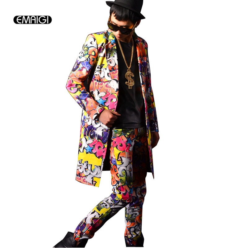 Custom Suits Men Hip Hop Suits Long Blazer Jacket Dress Men Graffiti Suit Set Men Stage Clothing Nightclub Costume Suit Set