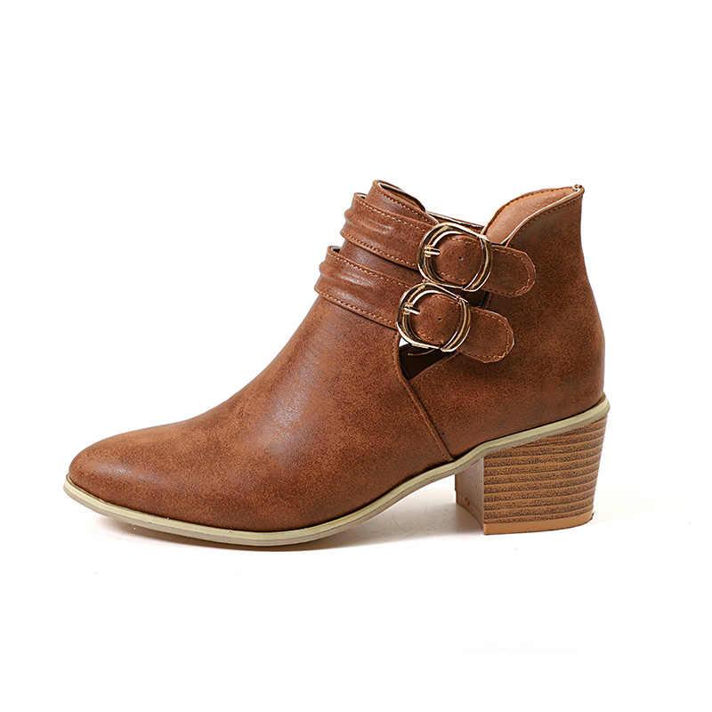 MCCKLE/Женские повседневные ботильоны на толстом высоком каблуке, осенние женские полусапожки с двойной пряжкой и острым носком, женская модная обувь