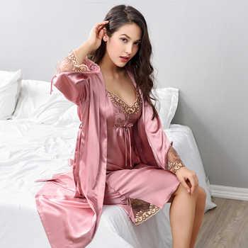 Xifenni Robe Sets Female Lace Embroidery Faux Silk Sleepwear Women Two-Piece Sexy Satin SILK Bathrobes Night Gown X8203