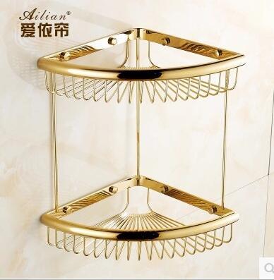 Luxury villa 100% copper gold color corner shelf racks baskets single bunk antique gold gilt basket retro bathroom pod decor цена и фото