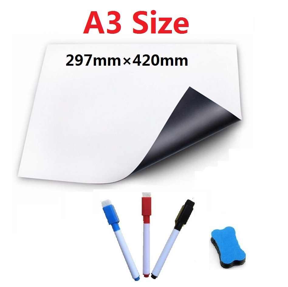 A3 A4 tamaño pizarra magnética para imanes de nevera tablero de mensajes de pizarra blanca Memo pluma de acuarela equipo de enseñanza