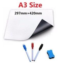 A3 a4 tamanho quadro magnético para ímãs geladeira placa branca marcador placa de mensagem memo watercolor caneta borracha equipamentos de ensino