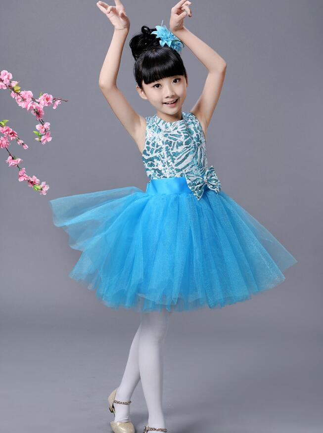 Детская современная одежда для балета; Одежда для танцев; Одежда для девочек в стиле хип-хоп; вечерние костюмы для бальных танцев; одежда для детей - Цвет: Небесно-голубой