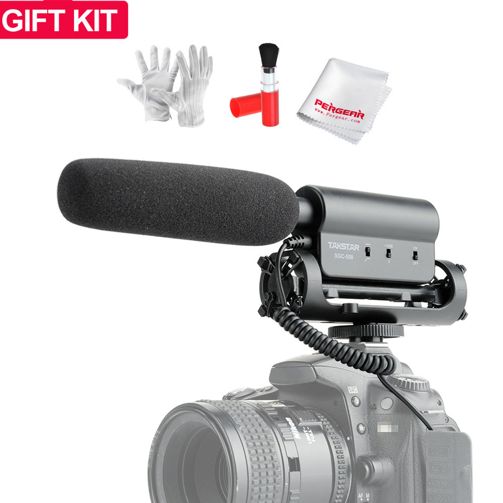 Takstar SGC 598 Photography Interview Lecture Conference MIC Microphone for Nikon Canon DSLR Camera + 3 in 1 Gift Kit