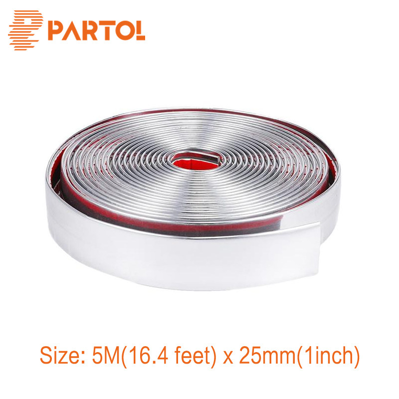 Partol 25mm x 5m Molding Trim Strip Car Exterior Decoration PVC Chrome Silver Bumper Impact Adhesive Grille Car-Styling