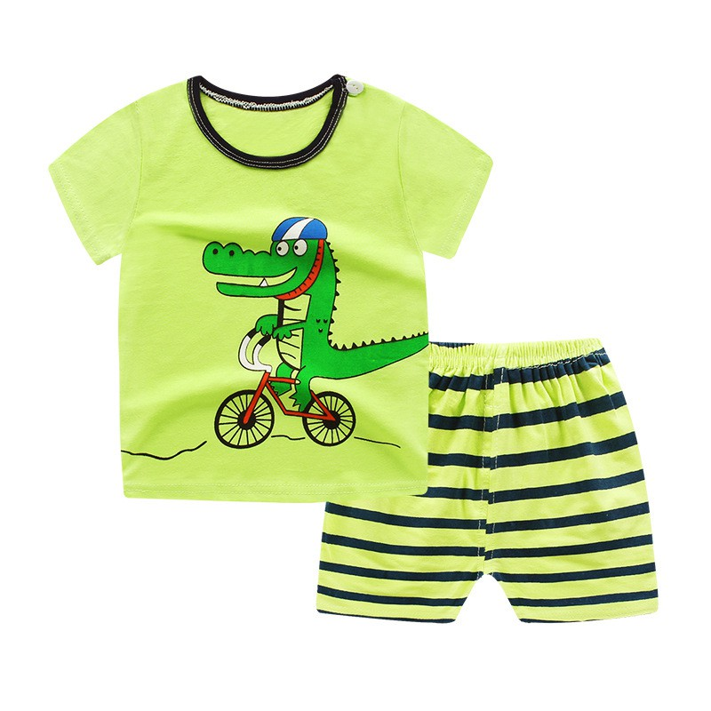 2PCS Summer Stylish Baby Boys Casual Clothes Set Infant Kids Cartoon Short-sleeved Top+Shorts Sets Newborn Newly Fashion Suit
