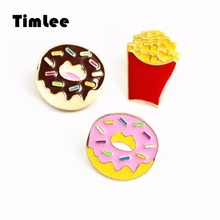 Metal Brooch Pins Popcorn Gift Wholesale Cartoon Doughnut Timlee X285 Snacks Fries French