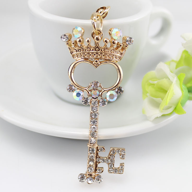MISANANRYNE Rhinestone Crystal Pendant Charm Crown Keychain Ring Keyring Valentines Gift Women Key Chains Jewelry Hot Sale