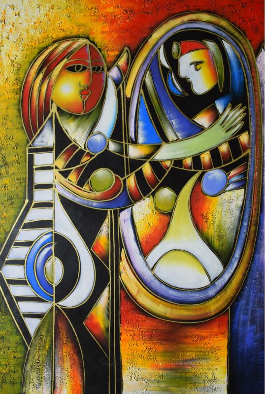 El Boyalı Tuval Üzerine Soyut Yağlıboya Modern Picasso Tuval - Ev Dekoru
