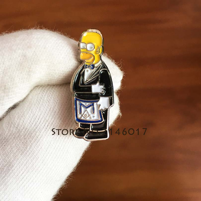 100pcs Custom Made Badge Metal Craft Simpsons Ceremonial Suit Brooch Soft Enamel Pins <font><b>Meme</b></font> Gift Masonic Apron Cartoon Lapel Pin image