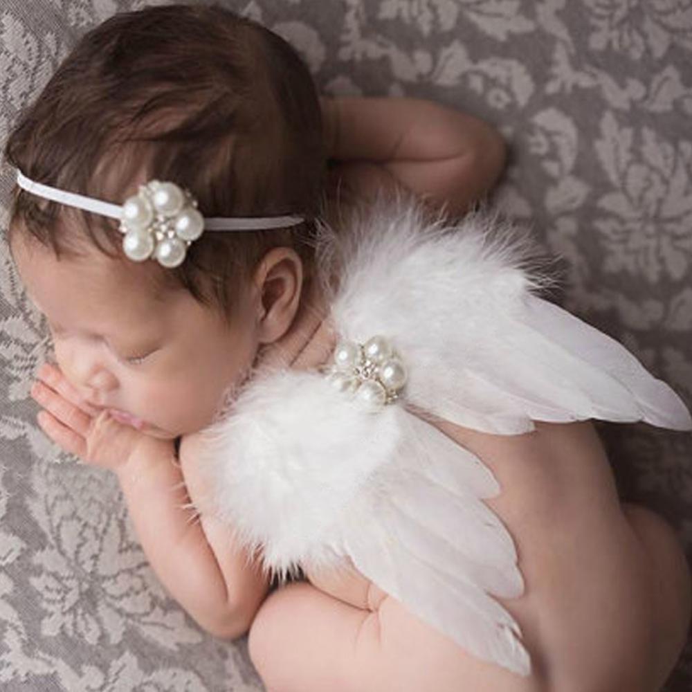 0-6M Newborn White Angel Photo Props Baby Girls Angel Wings Wing Set Feather Newborn Photography Props sweet lovely rhinestone feather plume unusual angel girls baby headband white