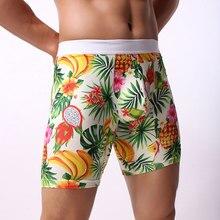 Sexy Men Boxers Fruit Print Smooth Solid Big U Convex Pouch Half-length Boxers Long Leg Underwear Mens Jocks Straps Gay Wear openwork color block u pouch boxers brief