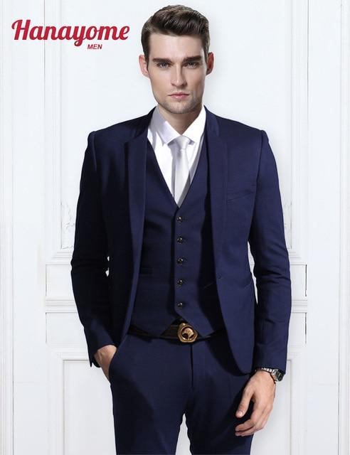 Dark Blue Blazer Men Modern Fit 3-Piece Suit Blazer Jacket Mens Light Blue  Suits