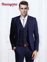 Foncé Bleu Blazer Hommes Moderne Fit 3-Piece Suit Blazer Veste Hommes Bleu clair Costumes Mens Pantalon Tux Gilet et Pantalon Ensemble U125