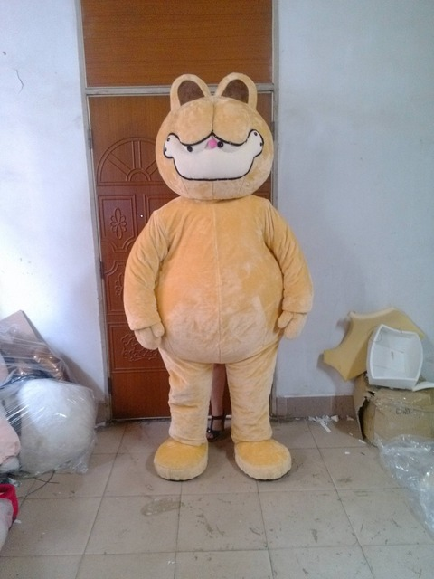 Funny Yellow Garfield Kitten Moggie Cat Mascot Costume With Big Fat Belly Happy Smiling Face Adult Free Shipping