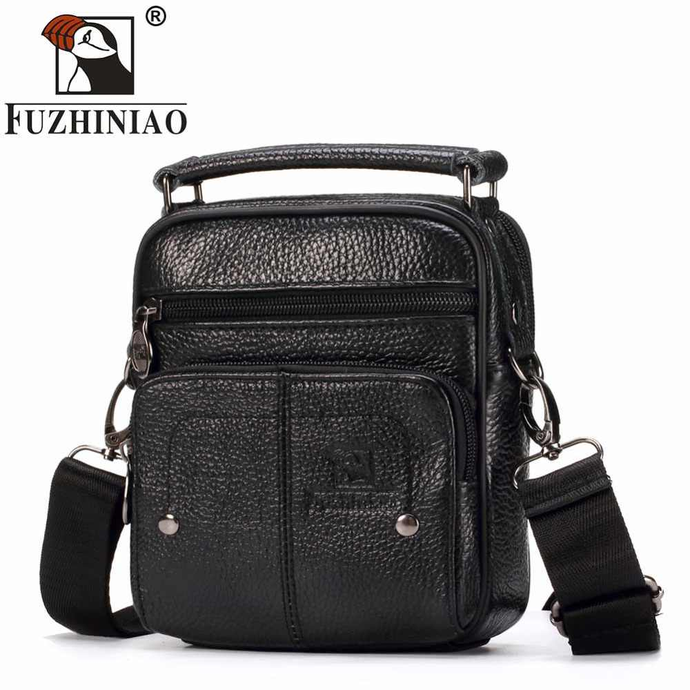 FUZHINIAO Fashion Business Soft Genuine Cow Leather Real Men Messenger Bag Trip Small Crossbody Shoulder Sac Male Handbag Zipper