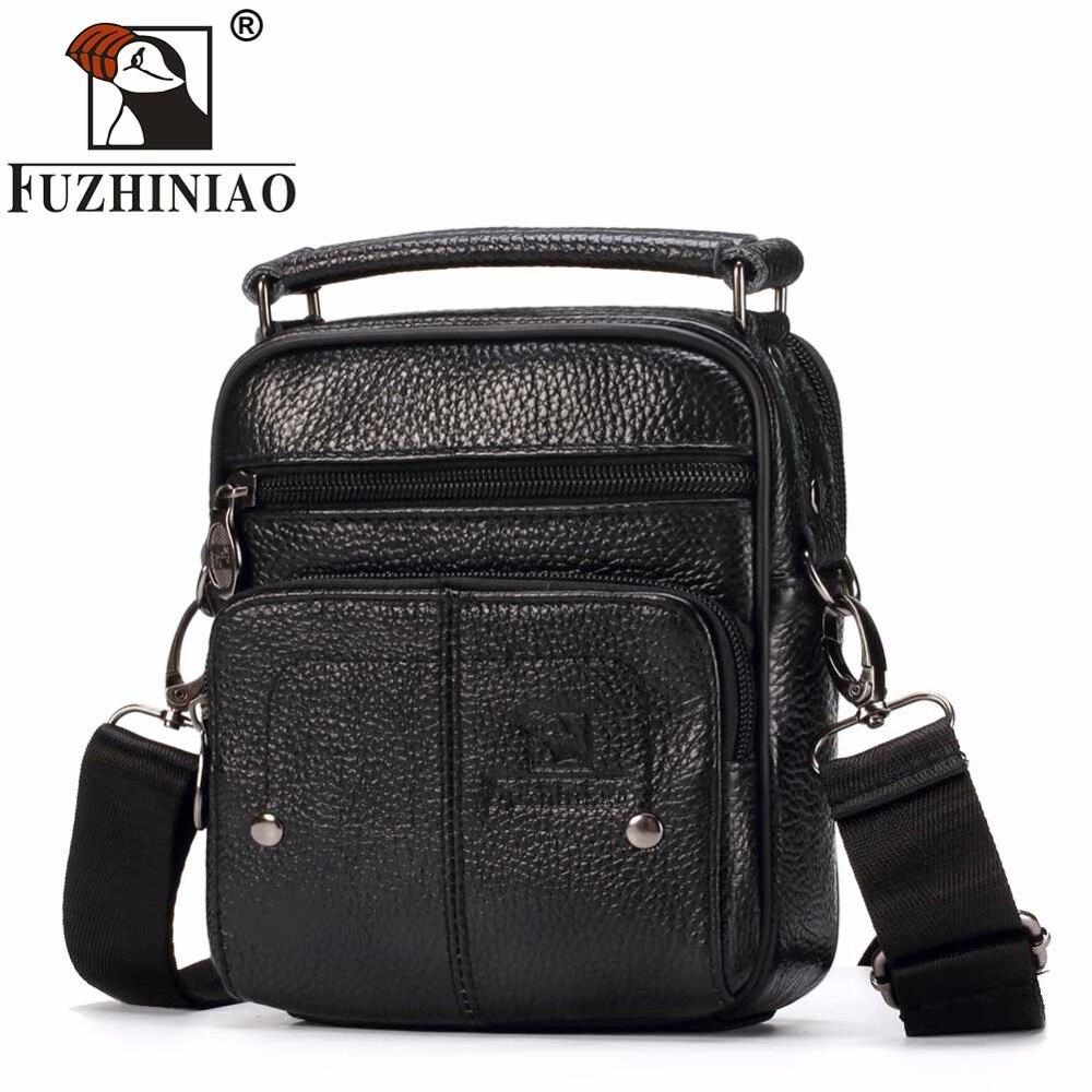 FUZHINIAO Fashion Business Soft Genuine Cow Leather Real Men Messenger Bag Trip Small Crossbody Shoulder Sac Male Handbag Zipper