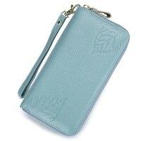 RFIDหนังแท้ใบพิมพ์กระเป๋าสตางค์สำหรับผู้หญิง