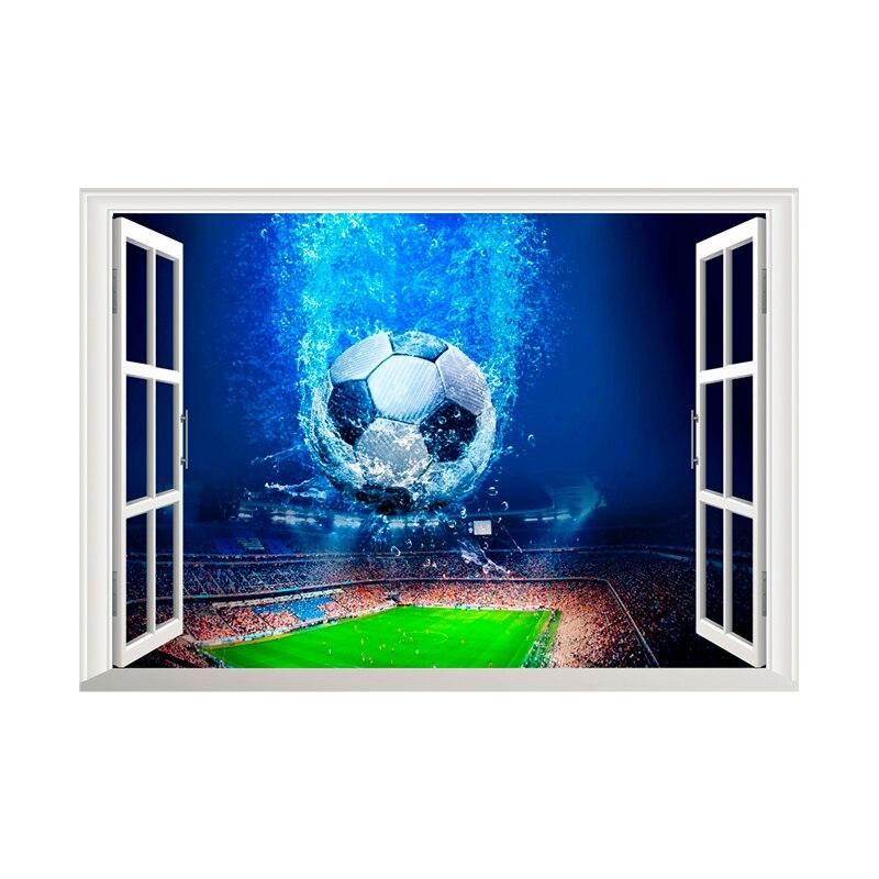 3D Venster Voetbal Voetbal Muurstickers Voor Kinderen Kamers Woonkamer Muurstickers Gym Jongens Kamer PVC Thuis Muurschildering art Decoraties 5