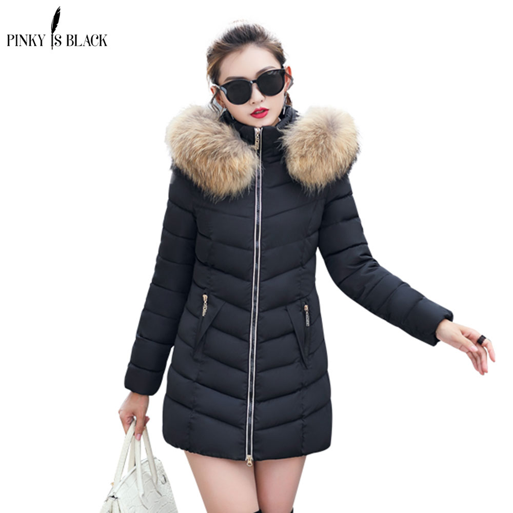 PinkyIsblack New Long   Parkas   Female Winter Jacket Womens Coat Thick Cotton Warm Jacket Womens Outwear Hooded Plus Size Fur Coat