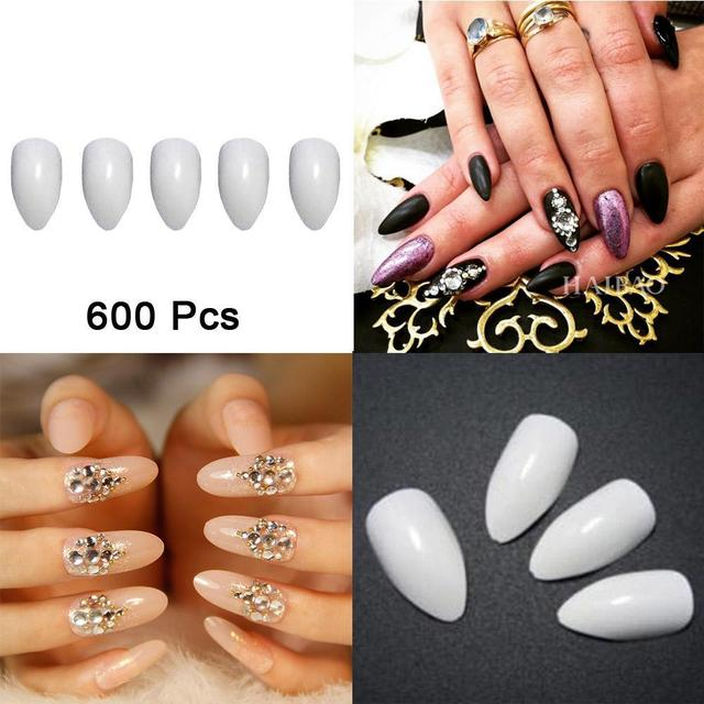 600pcs Pack Beauty Pointy Stiletto Natural Nail Tips Full Cover False French Art