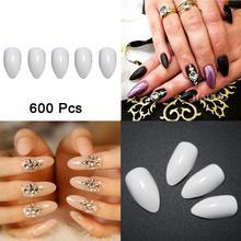 600pcs/pack Beauty Pointy Stiletto Natural Nail Tips Full Cover False French Nail Art Tips Fake Acrylic Nails Tool - White FAM