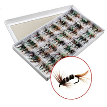 96pcs/units fly fishing lure set Synthetic Insect bait trout fly fishing hooks sort out with case field