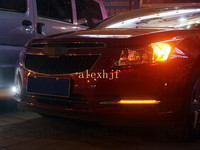 Июля король 56 светодиоды Габаритные огни LED DRL с желтый указатель поворота чехол для Chevrolet Cruze 2009 ~ 13, замена 1:1