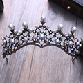 Baroque Vintage Crystal Pearl Bridal Tiaras Hairband Headpiece Black Rhinestone Princess Pageant Crown Wedding Hair Accessories