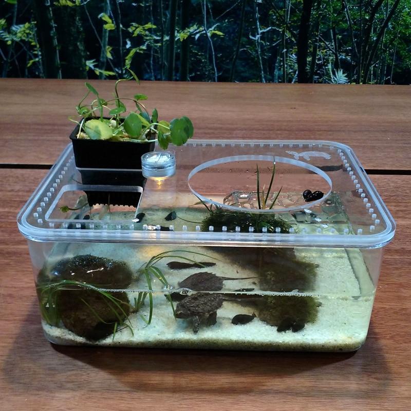 Plastic Transparent Fish Tank Insect Reptile Breeding Feeding Box Large Capacity Aquariu ...