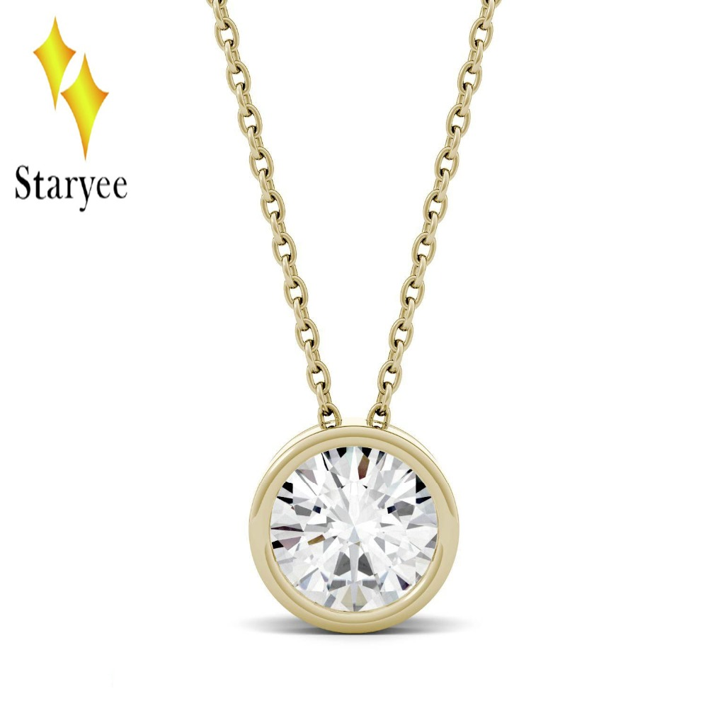 Moissanite Pendant 1ct Moissanite Bezel Set Solitaire Engagement Necklace Chain 18K Solid Yellow Gold Lab Diamond Wedding Band 18k 750 white gold pendant gh color round lab grown moissanite double heart necklace diamond pendant necklace for women jewelry