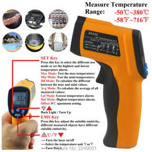 Discount! GM320 -58~716'F/ -50~380'C Digital Infrared Thermometer Non Contact Digital Temperature Thermometro with Laser