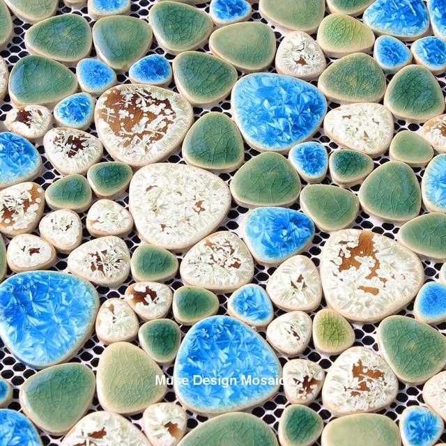 Mediterranean Blue Green Fambe Ceramic Mosaic Tile Shower