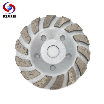 RIJILEI 5inch Diamond grinding cup 125mm Turbo Row Diamond Grinding Wheel disc Marble Abrasive pad for stone Polishing pad HC02 5 inch 125mm single row cup wheel for concrete grinding disc grinding wheel bore 22 23mm
