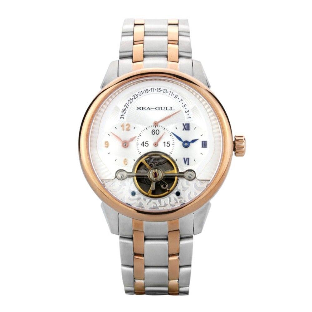 Seagull สูง Complication Dual Time Zone GMT Flywheel ถอยหลังวันที่มงกุฎหัวหอม Gold Tone นาฬิกาผู้ชายอัตโนมัติ 217.411-ใน นาฬิกาข้อมือกลไก จาก นาฬิกาข้อมือ บน   1