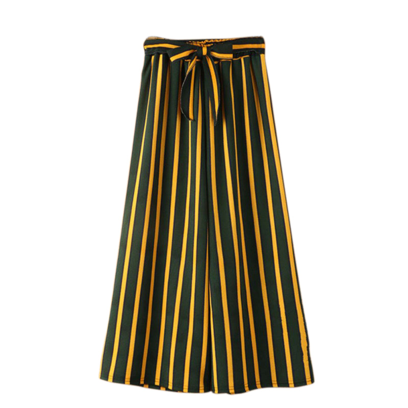 Stripe casual   pants   women bottom Sash high waist   wide     leg     pants   Elastic summer beach trousers female 2018 spring
