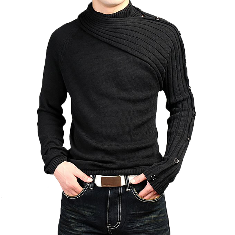Hommes chandail couleur unie bouton mode personnalité pulls hommes chandail