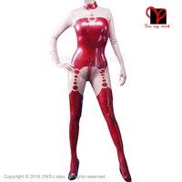 Rojo y ribetes de contraste sexy traje de látex catsuit de goma con los pies calcetines generales mono unitard body traje medias general xxxl