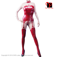 contrast trims Sexy latex suit Rubber Catsuit with feet Jumpsuit Unitard socks overall Body Suit stockings overall XXXL LT 048