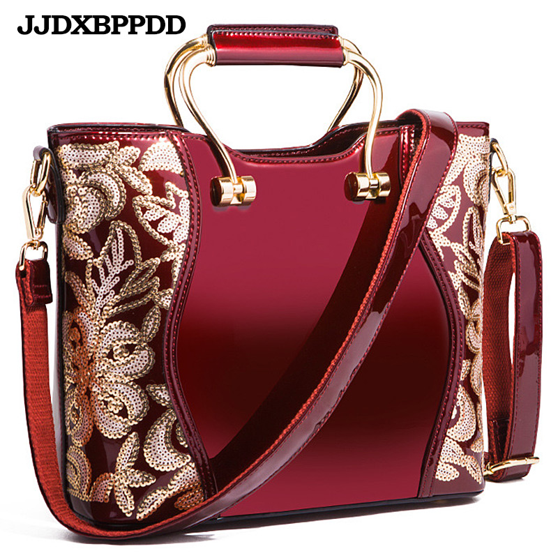 Women Bags Shoulder Handbags Large Capacity Women's Handbags Crossbody Messenger bags Floral Luxury Patent Leather Bag