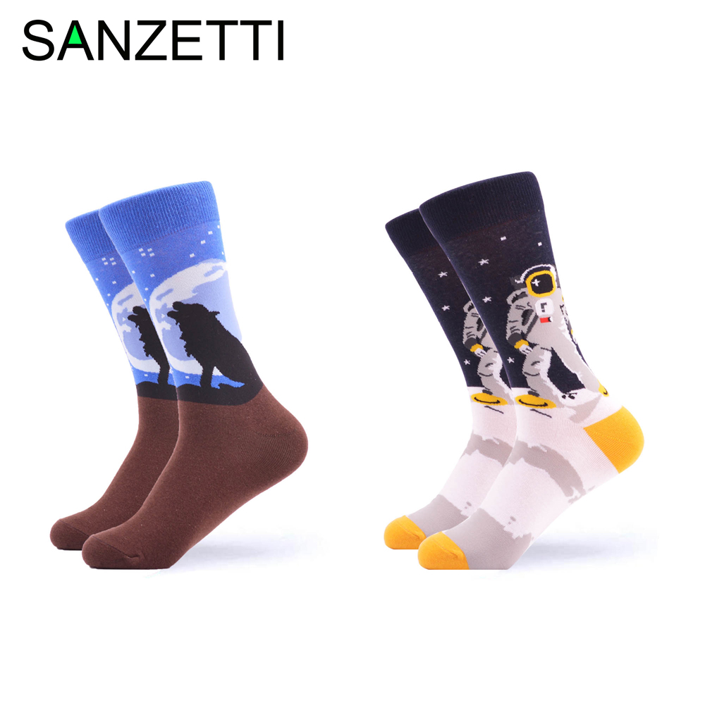 SANZETTI 2 pairs/lot Novelty Men's Colorful Combed Cotton Vintage Flowers Birds Casual Crew Dress   Socks   size us 7.5-12