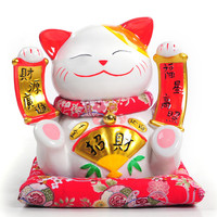 Ceramic 9 Inch Large Fortune Double Lucky Cat Ornaments Ornaments Gift Promotion Piggy Cat