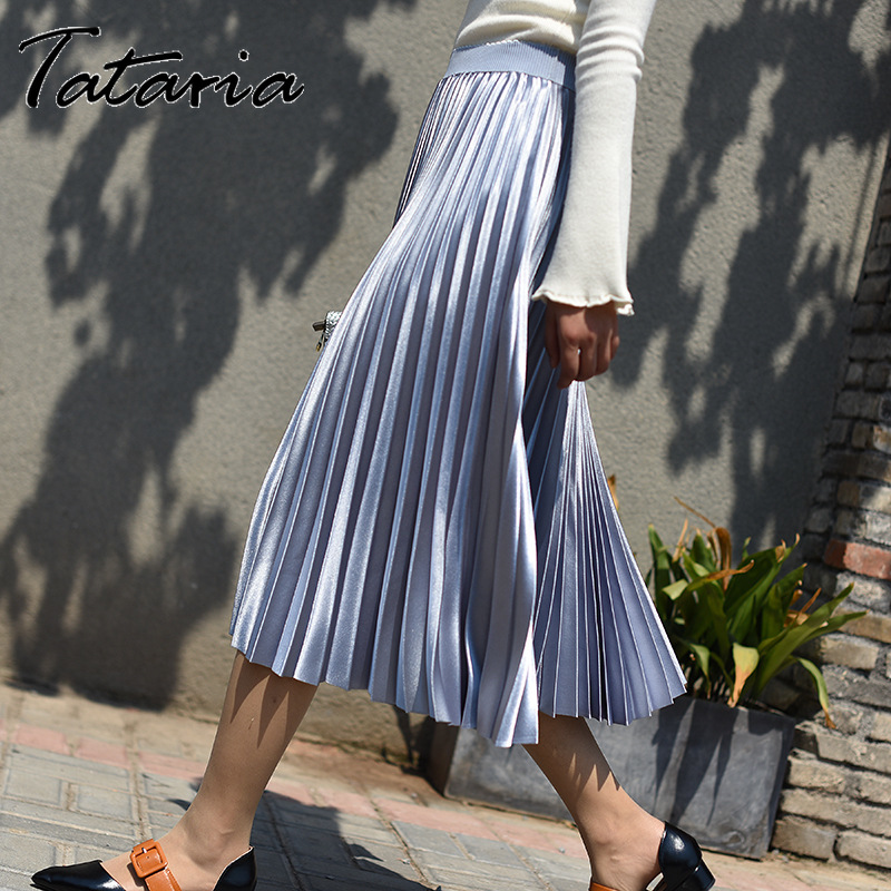 Tataria High Waisted Silk Skirt for Women Gradient Color Mid Calf Skirt High Quality Pleated Skirts A Line Female School Skirt(China)
