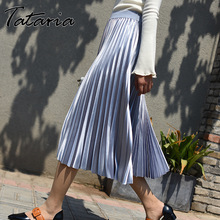 1128b0d651 Tataria High Waisted Silk Skirt for Women Gradient Color Mid Calf Skirt High  Quality Pleated Skirts