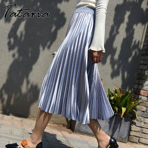 Tataria High Waisted Skirt for Women Pleated Skirts Female